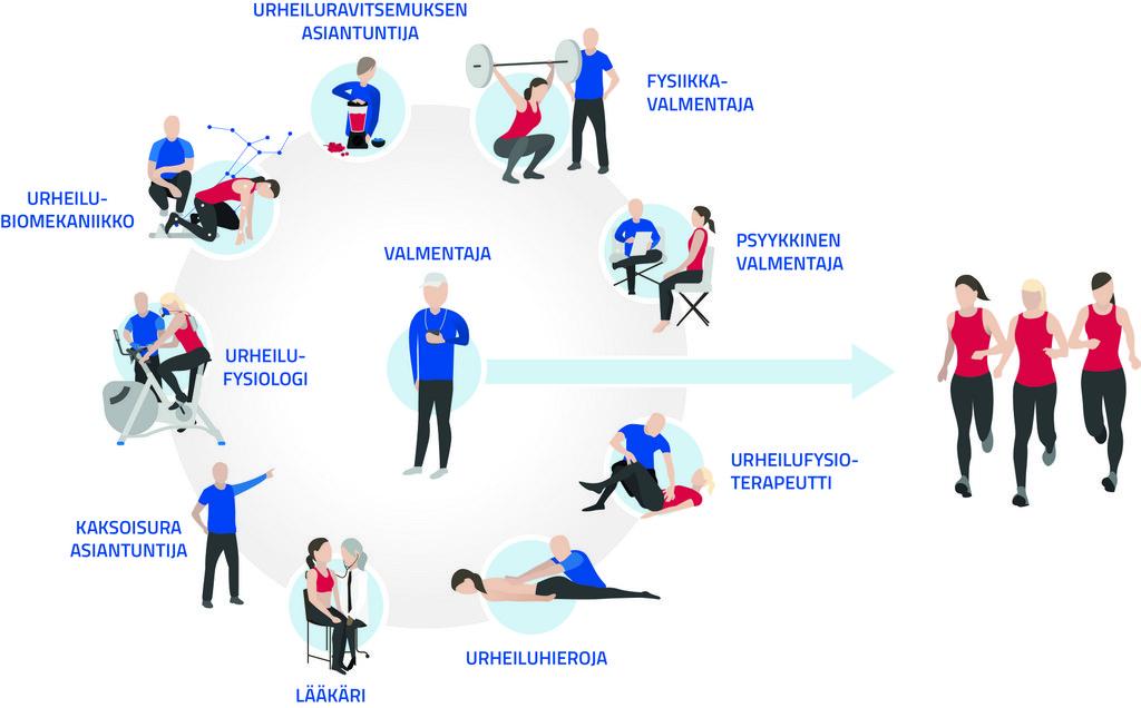 Infograafi, jossa valmentaja on keskellä urheilun asiantuntijoiden rinkiä (fysiikkavalmentaja, psyykkinen valmentaja, urheilufysioterapeutti, urheiluhieroja, lääkäri, kaksoisura-asiantuntija, urheilufysiologi, urheilubiomekaanikko) ja hänestä ohjautuu nuoli ringin ulkopuolelle urheilijoihin