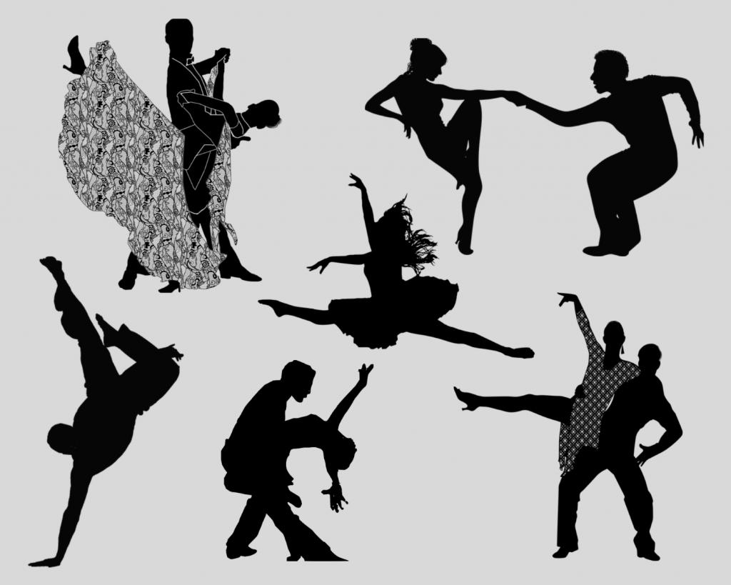 Tanssijaparien silhuetteja eri tanssiasennoissa