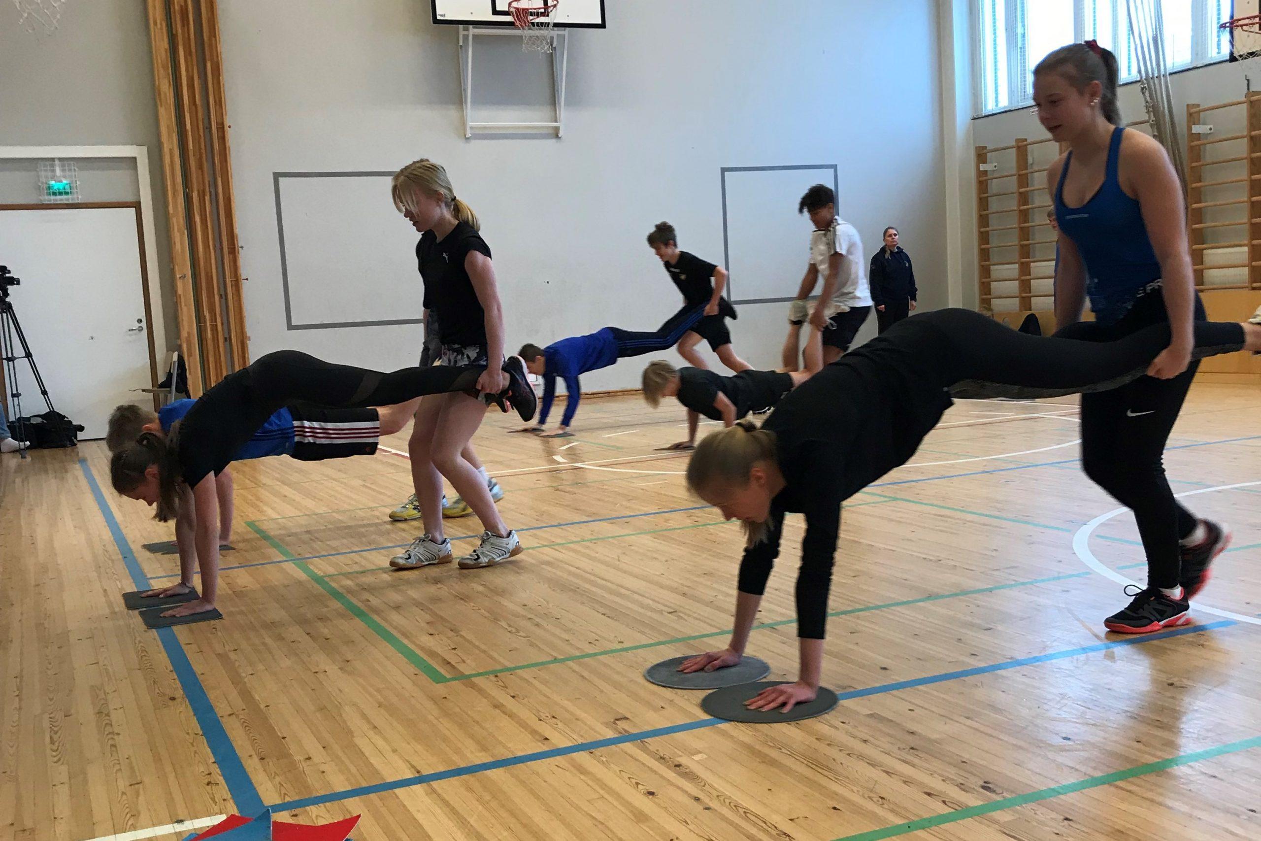 Nuoret tekevät liikuntatunnilla lihaskuntoharjoitteita