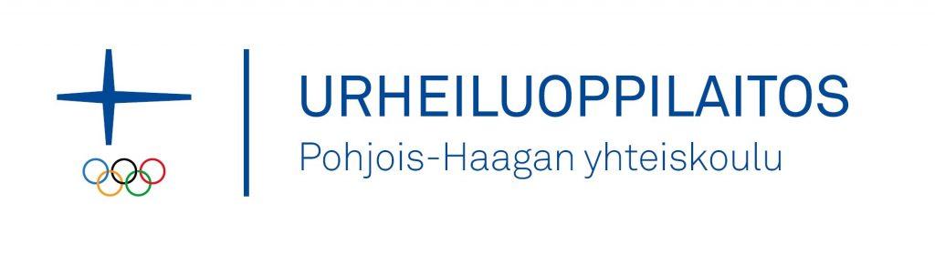Pohjois-Haagan yhteiskoulun virallinen Urheiluoppilaitoslogo Olympiakomitean tunnuksella