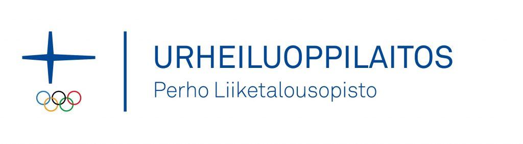 Perho Liiketalousopiston virallinen Urheiluoppilaitos-logo Olympiakomitean virallisella tunnuksella