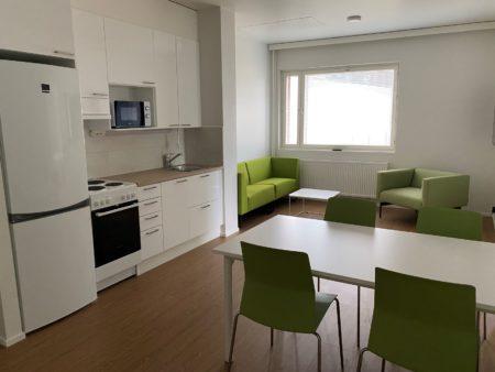 Keittiö, ruokapöytä ja neljä tuolia, sekä oleskeluryhmä ikkunan edessä