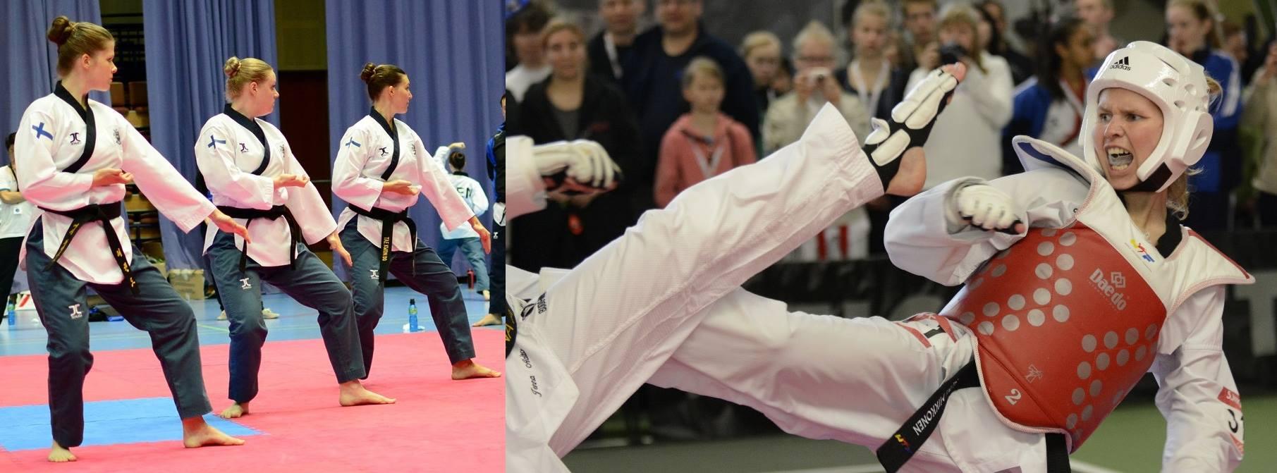 Taekwondon lajikuva, jossa on sekä ottelu että liikesarjat